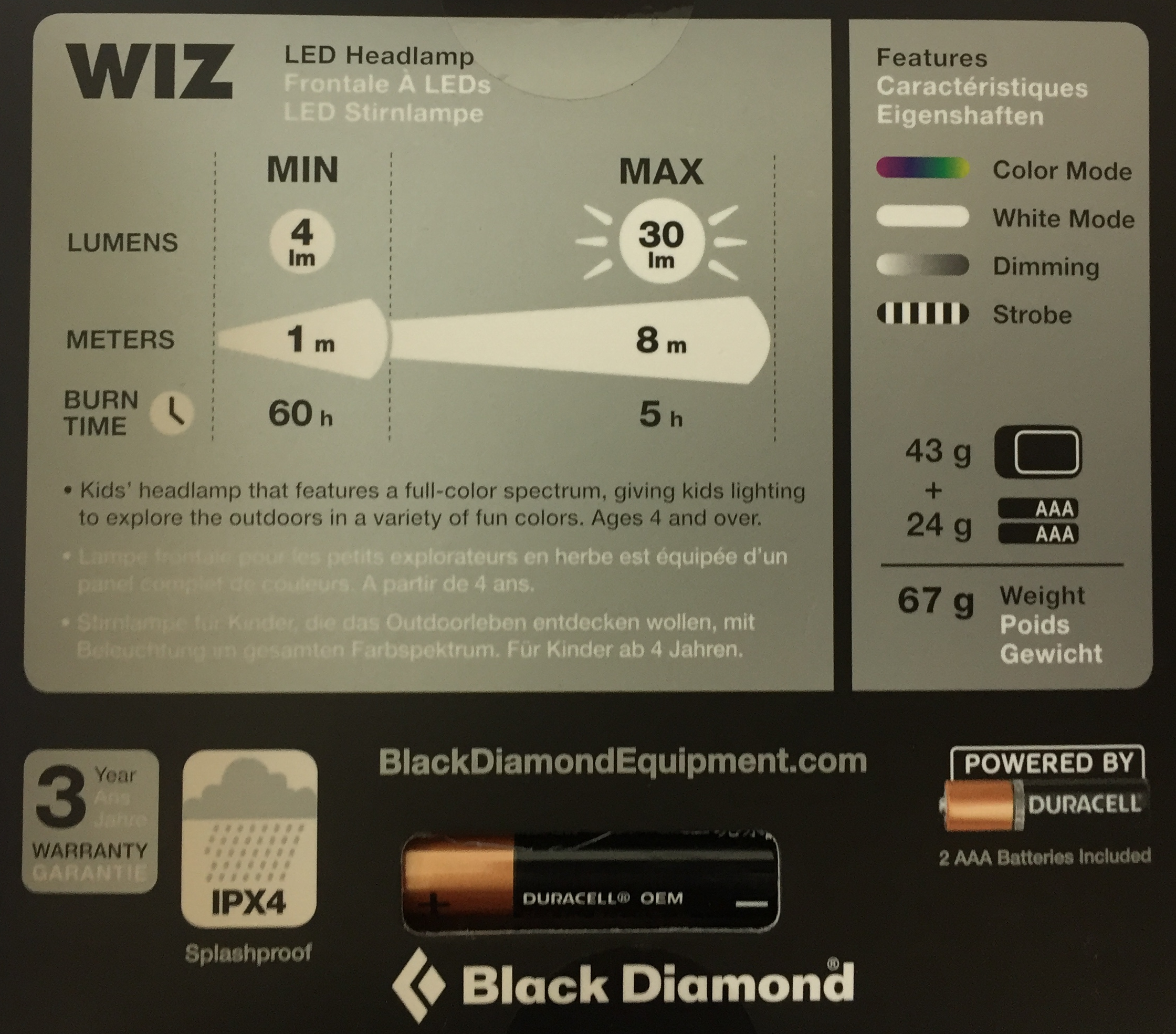 Black Diamond: Stirnlampe WIZ (Kinder)