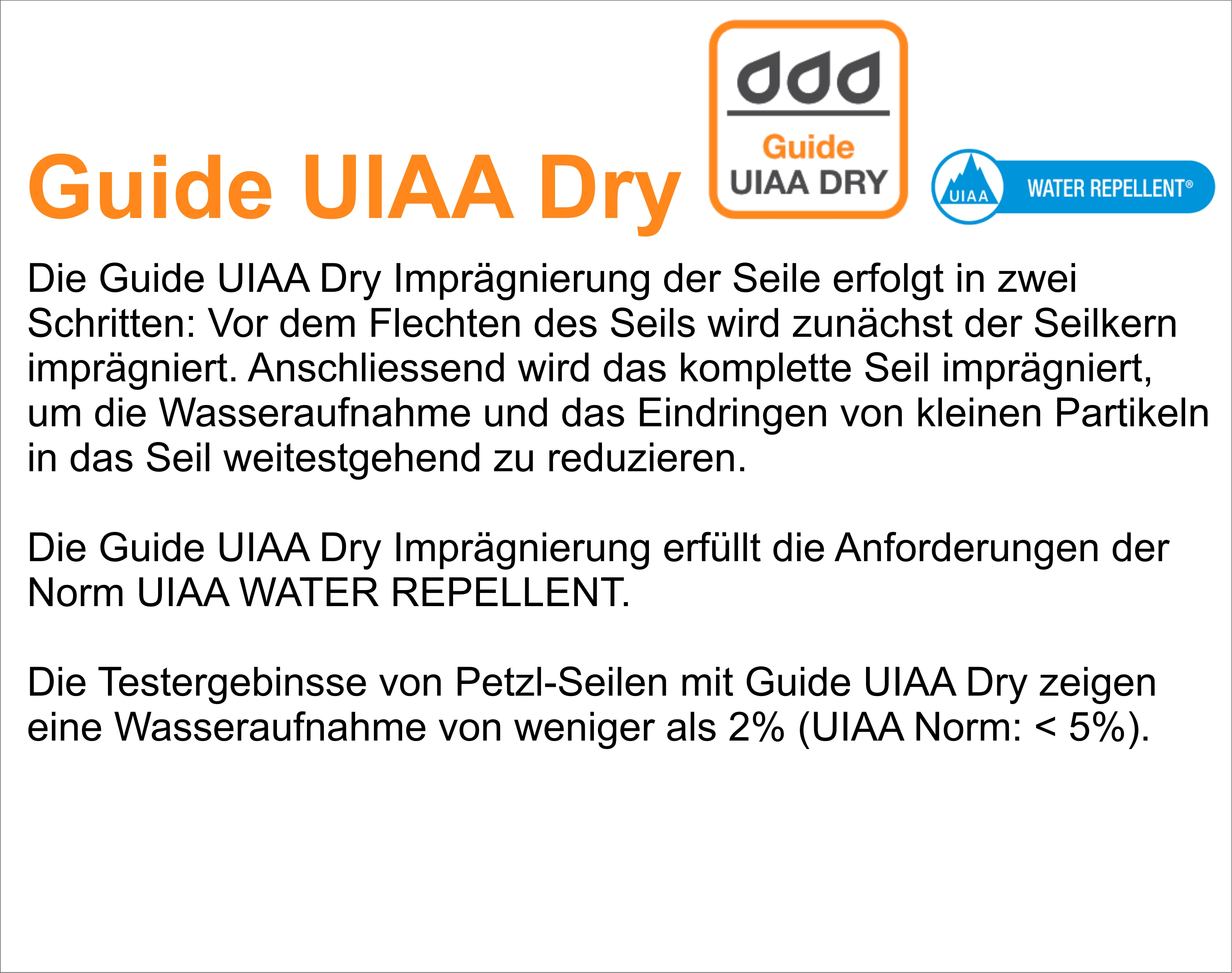 Petzl Seile: Guide UIAA Dry
